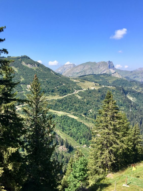 Stunning scenery looking from the start to the finish of the 2nd leg of Fantasticable Chatel.