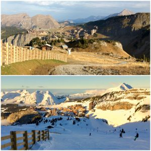 Avoriaz' Bleue de lac ski run alongside the Arare snowpark in summer and winter.