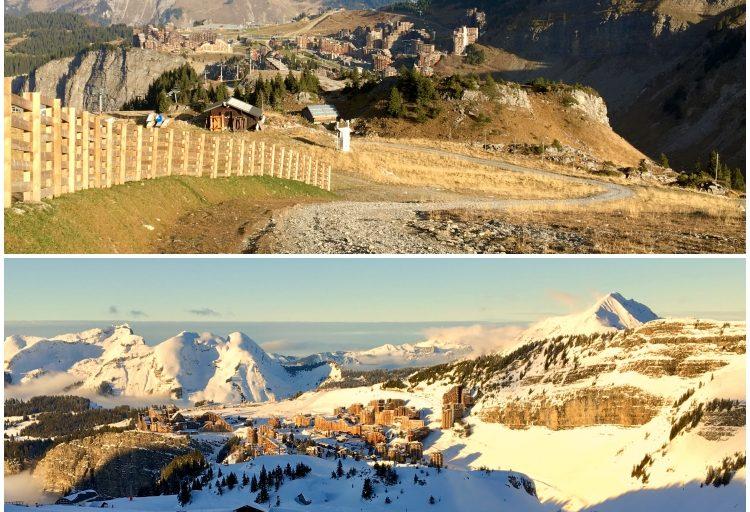 Avoriaz' Bleue de lac ski run alongside the Arare snowpark in summer and winter.