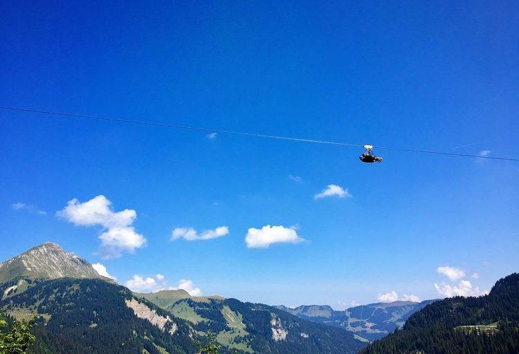 Picture perfect weather for our duo 'flight' on Fantasticable, Chatel