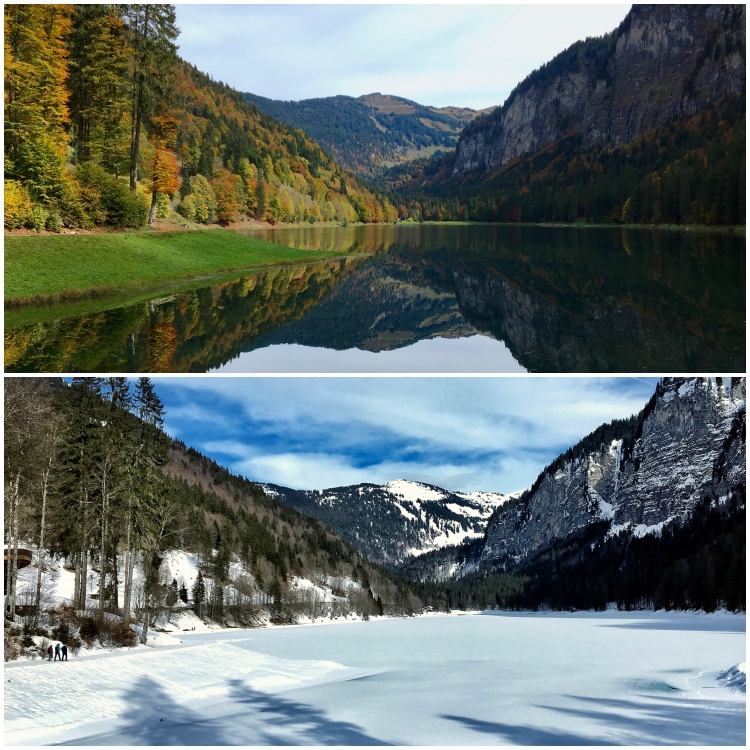Lac Montriond in Autumn and Winter.