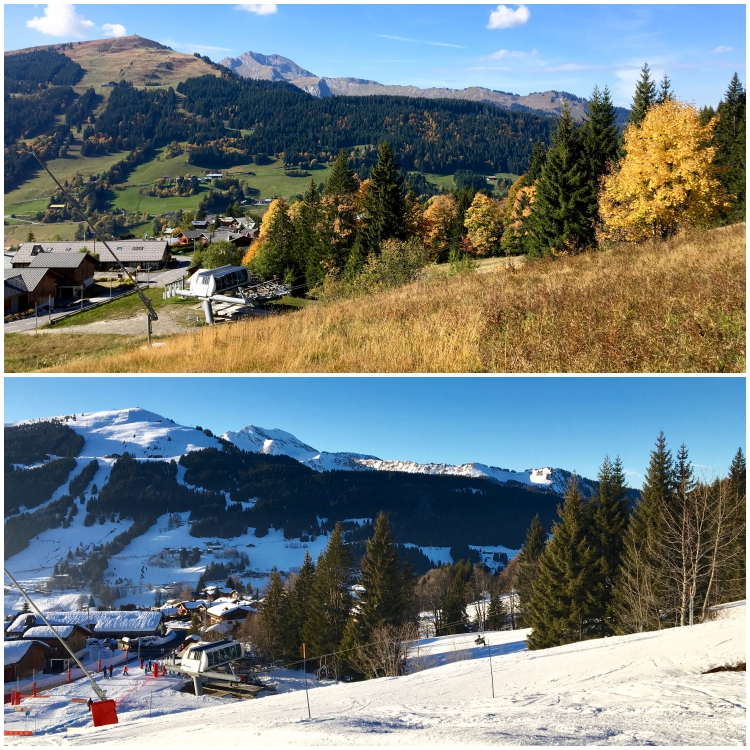 Les Gets' Crocus ski run and the Folliets du Golf chairlift in summer and winter.
