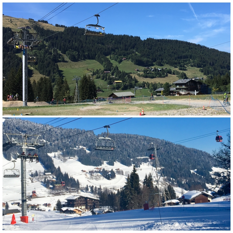 Seasonal comparison photos of the Chavannes lift at Gibannaz Les Gets Summer Winter Les Gets