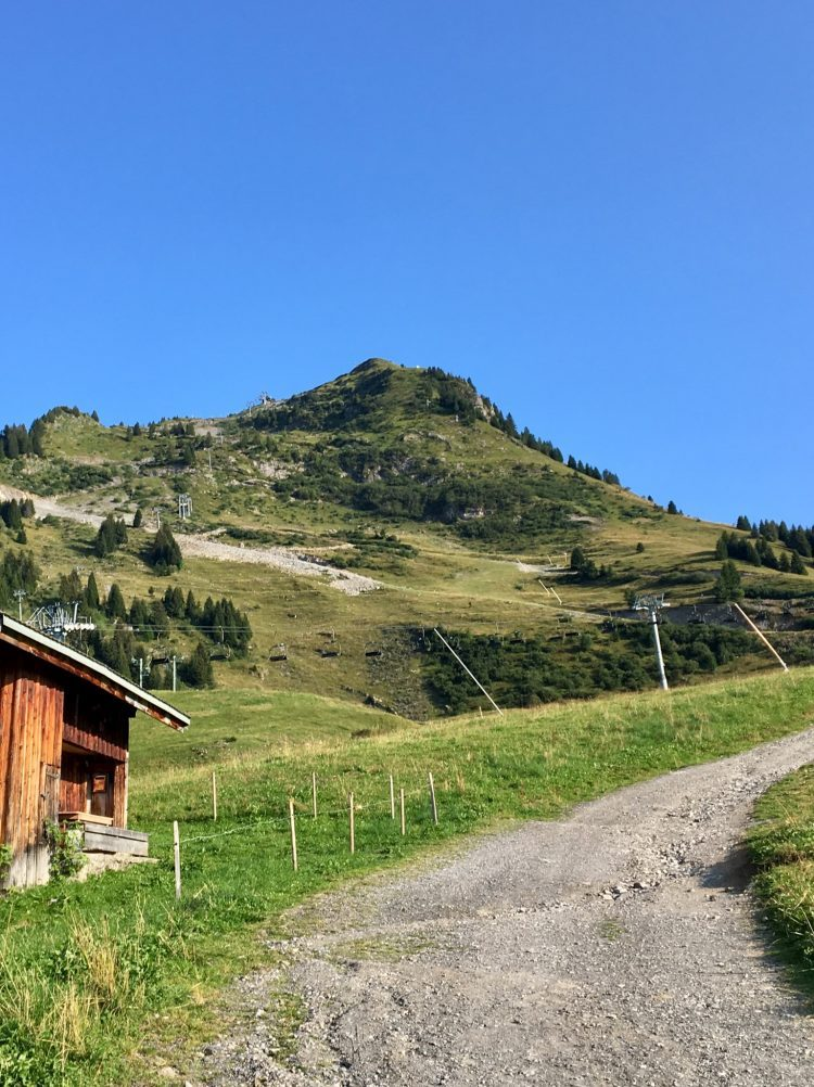 The hike to the Pointe de Nyon, Morzine begins with a gravel road.