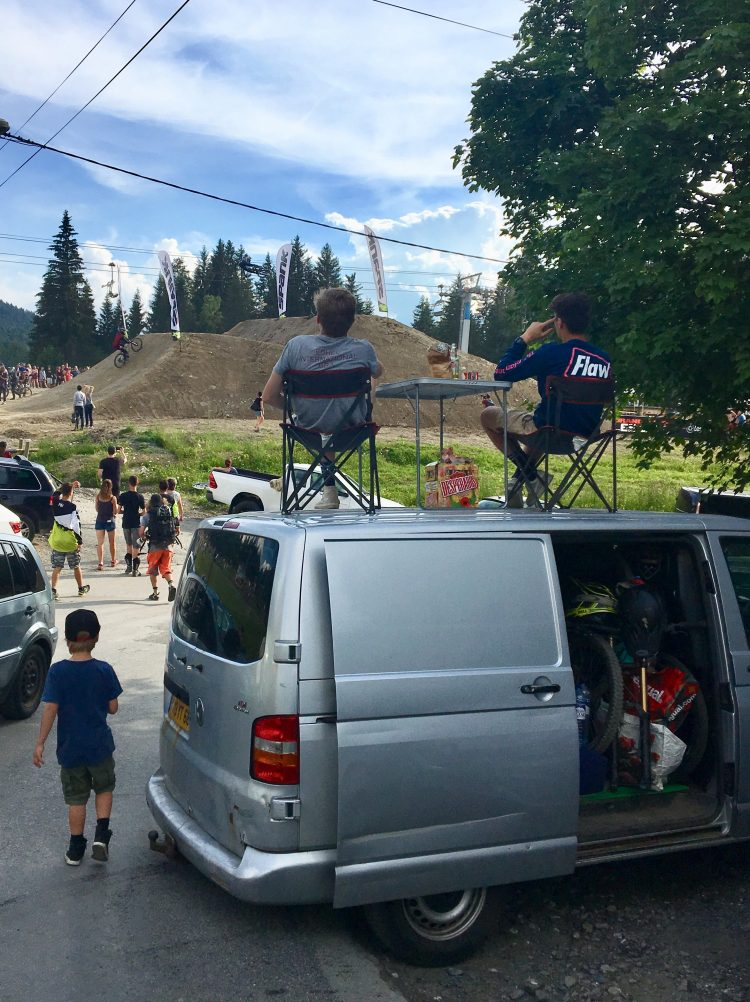Beers, check. Snacks, check. Table & chairs on top of your van, check! Spectating at the Crankworx Les Gets 2018 Whip-off finals with the best seats in the house!
