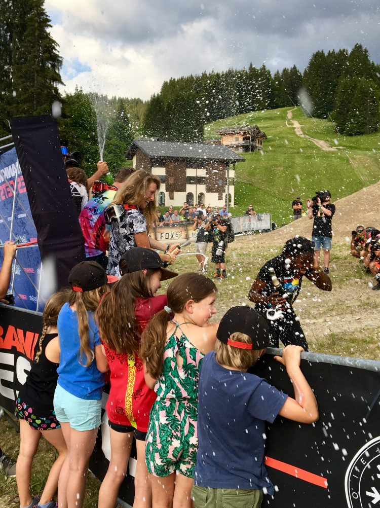 Celebrations on the podium for the Crankworx Les Gets 2018 Whip-offs.