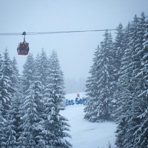 It was snowing hard in Les Gets - the January 'sweet spot'!