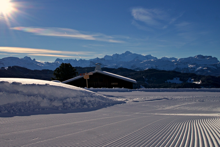 How high is Les Gets. Corduroy and Mont Blanc from Mont Caly.