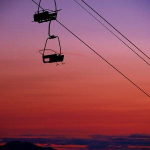 Sunset at 'La Point' chairlift, Pointe de Nyon under the summer skies of Morzine, Portes du Soleil.