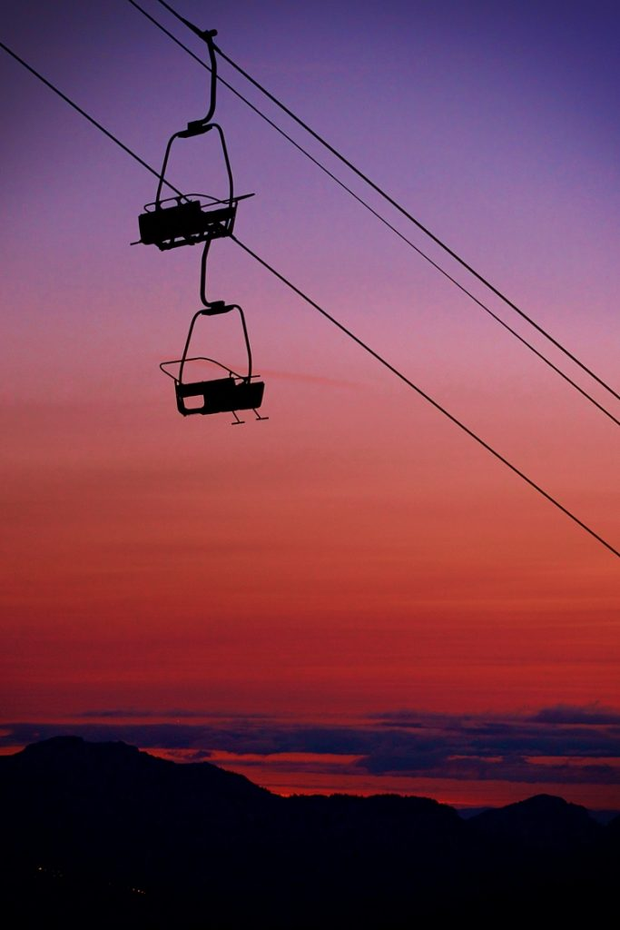 Nyon chairlift silhouette and sunset photograph UpStix