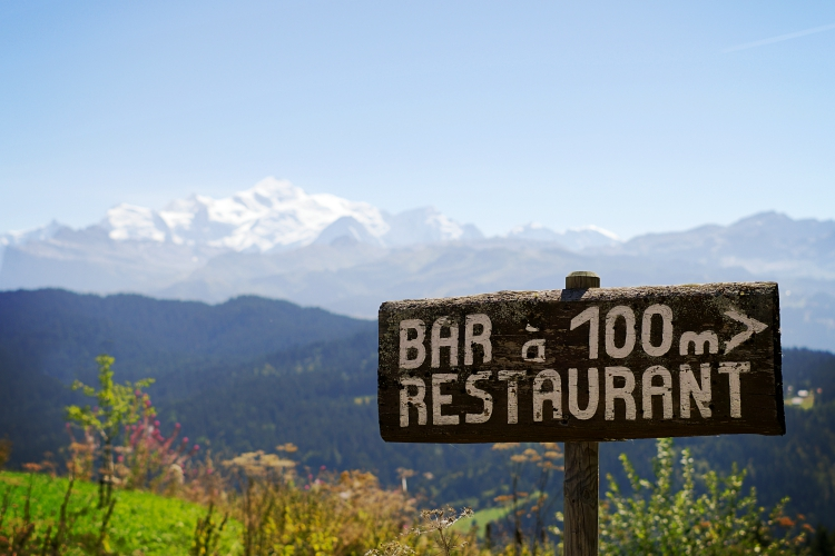 Restaurant sign Les Chevrelles Les Gets Mont Blanc background photograph Up-Stix