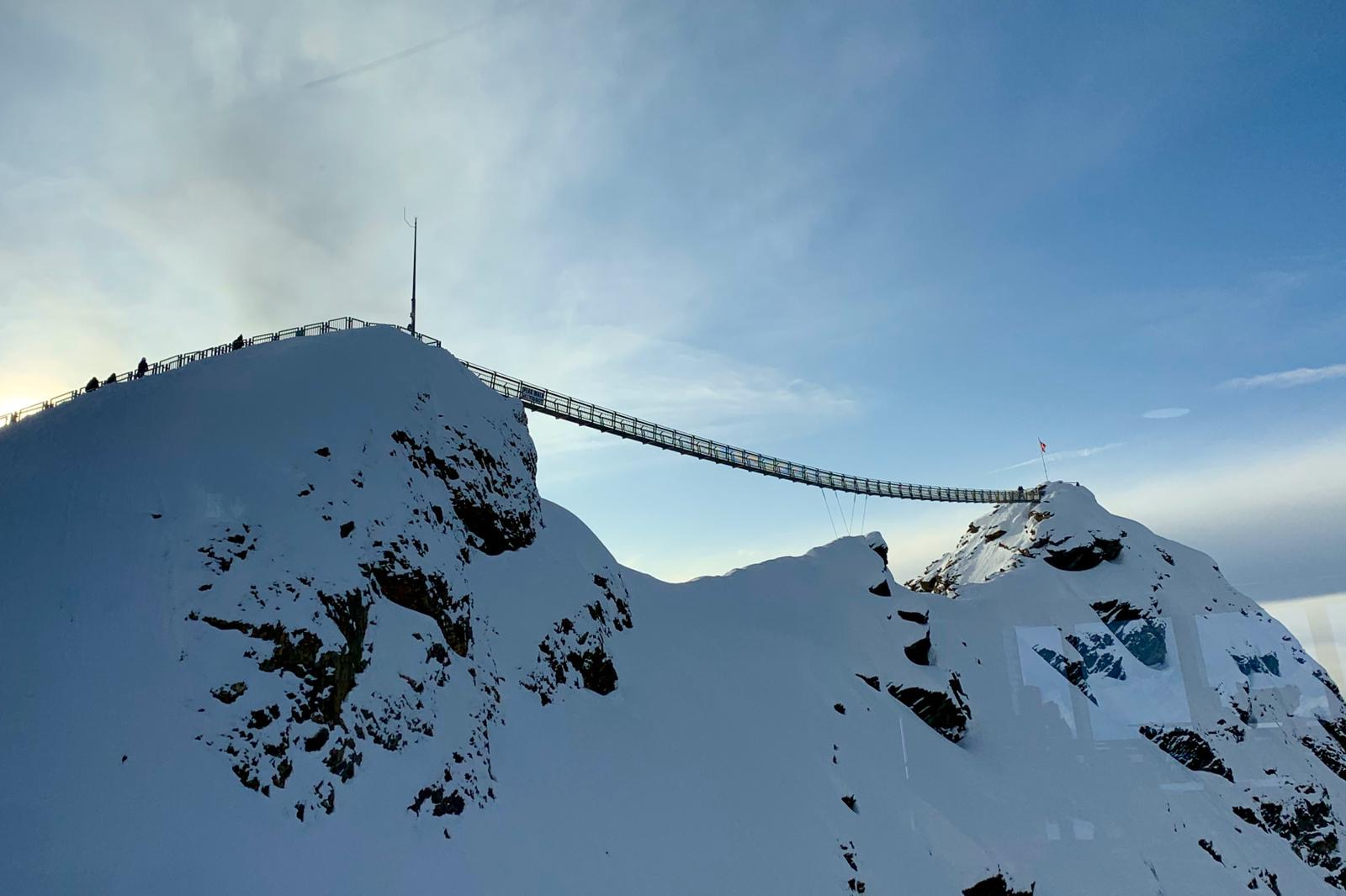The world's first - and only - peak to peak suspension bridge in the world at Glacier 3000 in Switzerland.