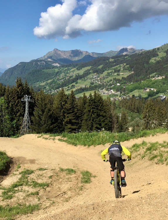 T was loving a full day mountain biking on the lift assisted trails in Les Gets Bike Park opening day 2020.