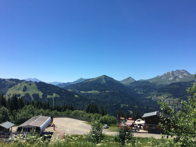 Lunch with a view at La Grenouille du Marais on Super Morzine, June 2020.