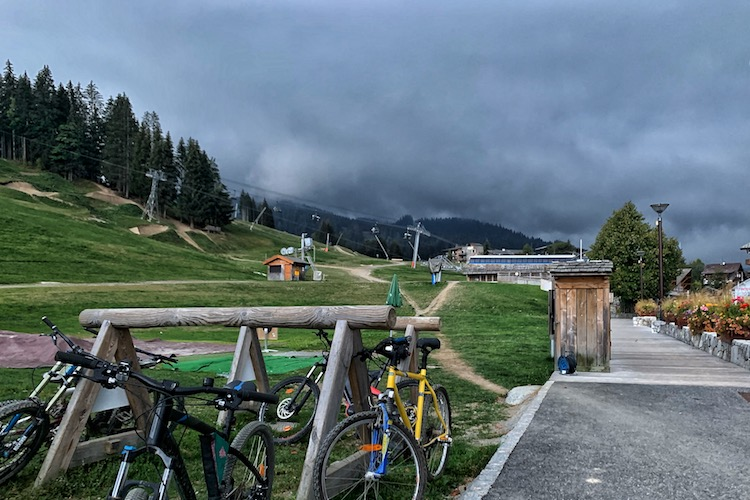 2020.09 storm clouds loomed at the Apreski bar Les Gets on the last weeekend of the season Up-Stix