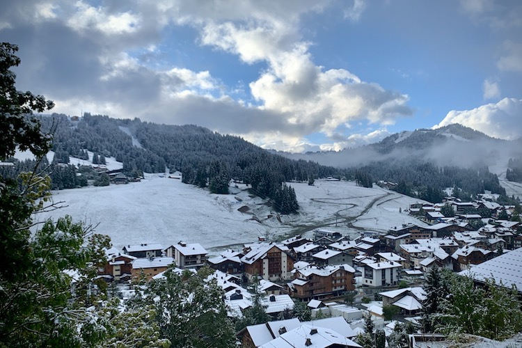 First snow to village level in Les Gets 26th September 2020. Up-Stix.