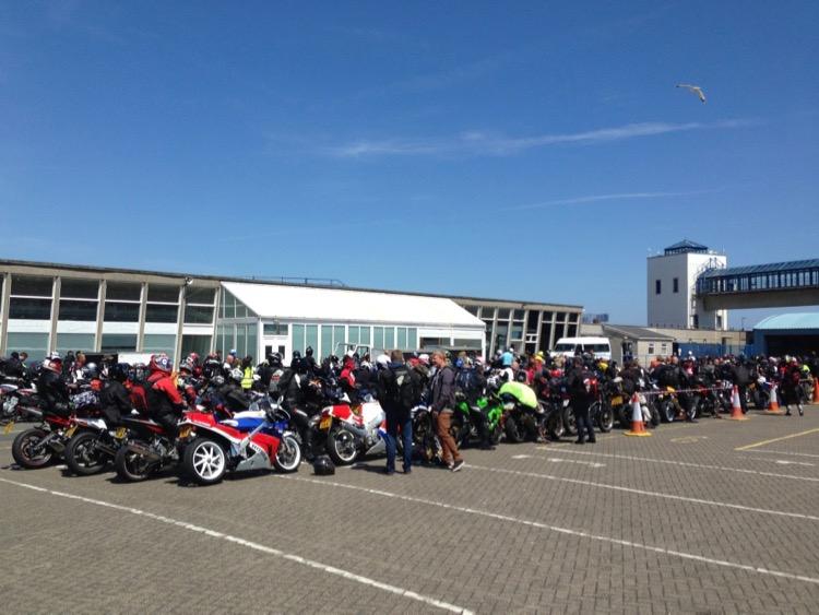 Isle of Man TT ferry queue 2015, Douglas.