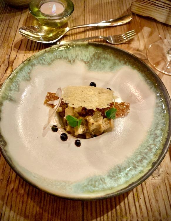 Cepe Ragu, Parmesan Crisp, Home Smoked Pancetta, Sourdough Crouton, Mushroom Vinegar. Restaurant des Granges, Les Gets.