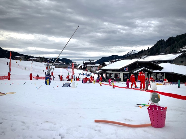ESF with the little'uns and sledging pistes beyond in Les Gets Christmas 2020.