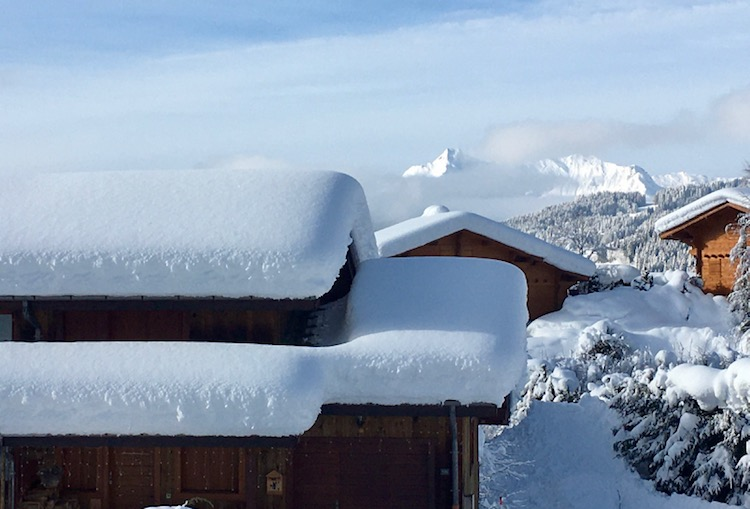 January 2021 trees and chalet roofs covered in heavy snow in Les gets in France